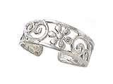 Finejewelers Sterling Silver Rhodium Finish Toe Ring Flower Swirls style: CGSS305