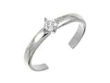 Finejewelers Sterling Silver Rhodium Finish Solitaire Cz Toe Ring style: CGSS354