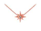 Wind And Fire Rose Tone North Star with Crystal Dainty Pendant Necklace With 18 Inch Adjustable Chain style: CGWF3230R