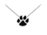 Wind And Fire Black Enameled Paw Print Dainty Pendant Necklace With 18 Inch Adjustable Chain style: CGWF3231BS