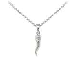 Wind And Fire Italian Horn Dainty Pendant Necklace With 18 Inch Adjustable Chain style: CGWF3232S