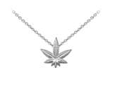 Wind And Fire Hemp Leaf Dainty Pendant Necklace With 18 Inch Adjustable Chain style: CGWF3242S