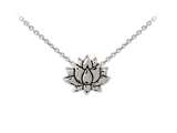 Wind And Fire Lotus Flower Dainty Pendant Necklace With 18 Inch Adjustable Chain style: CGWF3243S