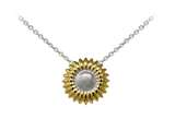 Wind And Fire Two Tone Sunflower Dainty Pendant Necklace With 18 Inch Adjustable Chain style: CGWF3245S