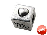 "Zable™ Sterling Silver Cube with Heart ""You"" Bead / Charm style: BZ0333"