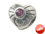 Zable™ Sterling Silver February Birthstone Hear Bead / Charm style: BZ0438