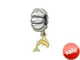 Zable™ 14k Dolphin Dangle Bead / Charm style: BZ0474