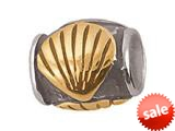 Zable™ Sterling Silver Gold Shell Barrel Compatible Bead / Charm style: BZ0637