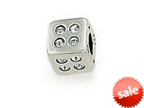 Zable™ Sterling Silver Cube with White Stones Bead / Charm style: BZ0766
