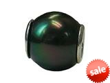 Zable™ Sterling Silver 10Mm Shell Simulated Pearl Black Bead / Charm style: BZ0898