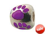 Zable™ Sterling Silver Purple Enamel Paw Print Bead / Charm style: BZ0974