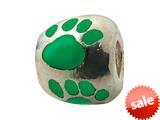 Zable™ Sterling Silver Green Enamel Paw Print Bead / Charm style: BZ0975