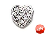 Zable™ Sterling Silver C.Z. Heart Bead / Charm style: BZ1006
