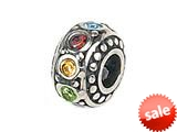 Zable™ Sterling Silver Multicolor Crystals Bead / Charm style: BZ1012
