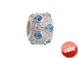 Zable™ Sterling Silver March Crystal Ball Non-oxidized Bead / Charm style: BZ1040