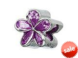 Zable™ Sterling Silver Purple Plumeria with CZ Bead / Charm style: BZ1098