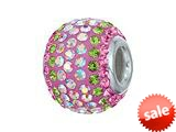 Zable™ Sterling Silver 2-tone Pink/Peridot Bead / Charm style: BZ1226
