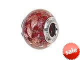 Zable™ Sterling Silver Red with Copper Glitter Murano Glass Bead / Charm style: BZ1543