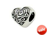 "Zable™ Sterling Silver Mom"" Heart Shape Bead / Charm style: BZ1702"