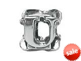 "Zable™ Sterling Silver Open Initial ""U"" Bead / Charm style: BZ1821"