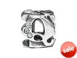 "Zable™ Sterling Silver CZ Initial ""Q"" Bead / Charm style: BZ1843"