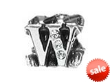 "Zable™ Sterling Silver Cz Initial ""W"" Bead / Charm style: BZ1849"