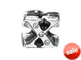 "Zable™ Sterling Silver CZ Initial ""X"" Bead / Charm style: BZ1850"