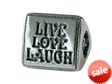 Zable™ Sterling Silver Tri Live/love/laugh Bead / Charm style: BZ2042