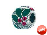 Zable™ Sterling Silver Holly With Crystal Berries Pandora Compatible Bead / Charm style: BZ2118