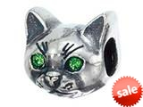 Zable™ Sterling Silver Cat Face Bead / Charm style: BZ2214