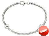 Zable™ 7 inch Sterling Silver Snake Bracelet with Smart Bead / Charm style: BZB161