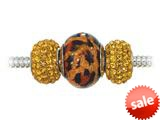 Zable™ Sterling Silver Leopard Print Trio Bead Set (Bracelet not included) style: BZB800