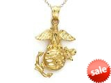 14k Yellow Gold US Marines Emblem Pendant Necklace - Chain Included style: CG10373