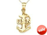 14kt Yellow Gold US Navy Pendant Necklace with Anchor - Chain Included style: CG14583