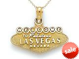 14kt Yellow Gold Welcome to Las Vegas Sign Pendant Necklace - Chain Included style: CG17328