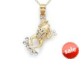 14k Two Tone Frog Pendant Necklace - Chain Included style: CG17388