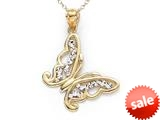 14kt Yellow Gold Bright Cut Butterfly Pendant Necklace - Chain Included style: CG17400CD