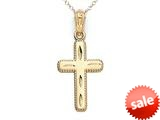 14kt Yellow Gold Small Bright Cut Beaded Cross Pendant Necklace - Chain Included style: CG17422