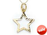 14k Yellow Gold Small Bright Cut Star Charm Pendant Necklace - Chain Included style: CG17452