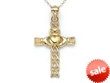 14k Yellow Gold Claddagh Celtic Cross Pendant Necklace - Chain Included style: CG17539CD