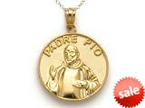 14k Yellow Gold Padre Pio Medallion Pendant Necklace - Chain Included style: CG17567