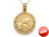 14kt Yellow Gold Round Angel In Frame Pendant Necklace - Chain Included style: CG17574