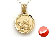 14k Yellow Gold Small Round Angel Medallion Pendant Necklace - Chain Included style: CG17575