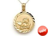 14kt Yellow Gold Medium Round Angel Medallion Pendant Necklace - Chain Included style: CG17576