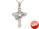 14k White Gold Large Fancy Marine Cross Pendant Necklace - Chain Included style: CG17584