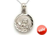 14kt White Gold Small Round Angel Medallion Pendant Necklace - Chain Included style: CG17586