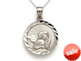 14k White Gold Medium Round Angel Medallion Pendant Necklace - Chain Included style: CG17587