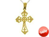 14kt Yellow Gold Small Fleur De Lis Cross Pendant Necklace - Chain Included style: CG17596
