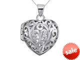 Sterling Silver Rhodium Heart Filigree Locket Pendant Necklace Chain Included style: CG3270