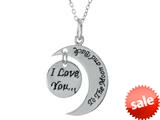 "Sterling Silver ""I Love You to the Moon and Back"" Circle Pendant Necklace 18 inch adjustable Chain Included style: CG3497"